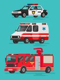 Set of emergency vehicles. Police car, ambulance. And fire truck Royalty Free Stock Photos