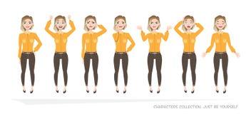 Set emocje dla biznesowej kobiety Zdjęcie Stock