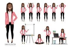 Set emocje dla czarny afrykanin amerykańskiej biznesowej kobiety ilustracji