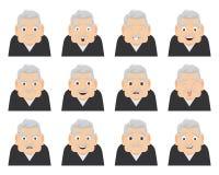 Set emocje dziad na twarzy Starszy postać z kreskówki samiec z różnymi wyrażeniami Fotografia Royalty Free