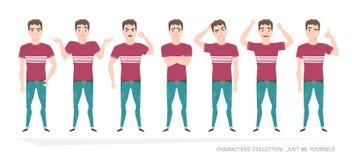 Set emocje i gesty młody człowiek Obrazy Stock