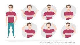 Set emocje i gesty młody człowiek Zdjęcia Royalty Free