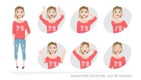 Set emocje i gesty młoda kobieta Zdjęcia Stock