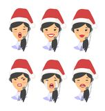 Set of female emoji customer support phone operator in Christmas hat. Callcenter worker with headset. Cartoon vector. Set of emoji customer support phone Royalty Free Stock Images