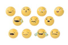 A set of emoji.3D illustration. A set of emoji. 3D illustration Royalty Free Stock Photos