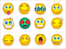 Set of Emoji emoticons face icons . Vector illustration Stock Photography