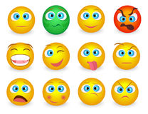 Set of Emoji emoticons face icons . Vector illustration Stock Images