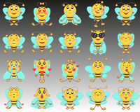 Set of emoji emoticons in a flat style. A set of isolated cartoon bees on a background from black to white. Royalty Free Stock Photo