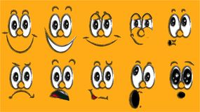 A set of emoji, a set of emotions of funny faces with big eyes with different emotions: joy, sadness, fear, surprise, smile, cry,. Doubt painted black on an Stock Photography