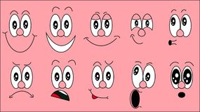A set of emoji, a set of emotions of funny faces with different emotions, joy, sadness, fear, surprise, smile, cry, doubt on a pin. K background. Vector Stock Photos