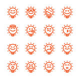 Set of emoji lightbulb emoticons Royalty Free Stock Photography