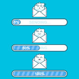 Set of emoji messages in letters with progress sending bar. Concept for website design. Flat style trend modern logotype. Set of vector downloaders with email Royalty Free Stock Images