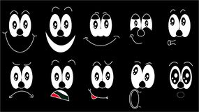 A set of emoji, a set of emotions of funny faces with different emotions, joy, sadness, fear, surprise, smile, cry, doubt drawn in. White on a black background Stock Images