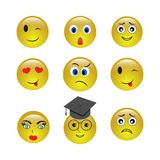Set of emogy smiley icons stock illustration