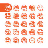 Set of emoji speech bubble emoticons Stock Photography