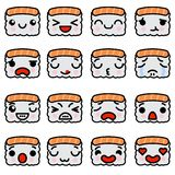 Set of emoji sushi icons with different emotions Vector illustration. Set of emoji sushi icons with different emotions. Vector illustration royalty free illustration
