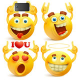 Set of emoji yellow smiley faces royalty free illustration