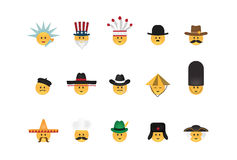 Set of  emoticon with hat Royalty Free Stock Photos