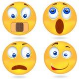 Set Emoticon Smiley ikony, emoticons wyraża emocję Odosobniona ilustracja na białym tle Fotografia Stock
