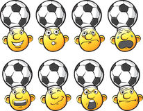 Set of emoticon soccer fan heads Stock Photography
