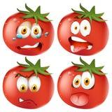 Set of emoticon tomatoes Stock Photos