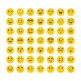 Set of emoticons. Avatars. Cute emoji icons. Funny cartoon faces. Flat design. Vector illustration Stock Photo