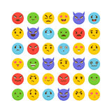Set of emoticons. Avatars. Funny cartoon faces. Cute emoji icons. Kawaii. Flat design. Vector illustration Royalty Free Stock Image