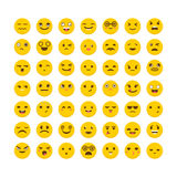 Set of emoticons. Big collection with different expressions. Fla Royalty Free Stock Photo