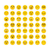 Set of emoticons. Big collection with different expressions. Fla Stock Photography