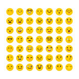 Set of emoticons. Cute emoji icons. Avatars. Funny cartoon faces. Flat design. Vector illustration Stock Image