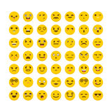 Set of emoticons. Cute emoji icons. Flat design. Avatars. Funny. Cartoon faces. Vector illustration Stock Images