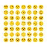 Set of emoticons. Cute emoji icons. Flat design. Funny cartoon faces. Avatars Stock Photography