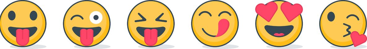Set of emoticons with different emotions Stock Photography
