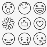 Set of Emoticons, Emoji and Avatar. Outline style illustrations - stock vector.  stock illustration