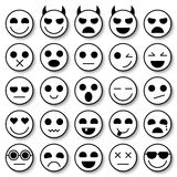 Set of Emoticons. Emoji icons collection. Smile funny faces. Vector eps10 Stock Photography