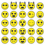 Set of Emoticons. Emoji icons collection. Smile funny faces. Vector eps10 Royalty Free Stock Photos