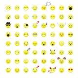 Set Emoticons 64 emoji Ikonen Stockfotos