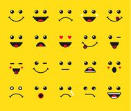 Set of emoticons or emoji illustration line icons Stock Photography