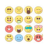 Set of emoticons, emoji isolated on white background. Set of vector emoji in flat style. Smiley emoticons collection. Emoticons for web, mobile, chat, print Royalty Free Stock Image
