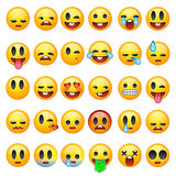 Set of emoticons, emoji isolated on white background Stock Images