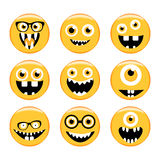 Set Emoticons Emoji Monstergesichter in den Gläsern mit verschiedenen Ausdrücken Stockbild
