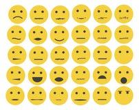Set emoticons, emoji odizolowywający na białym tle Obraz Stock