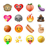 Set of emoticons, emoji, white background Stock Images