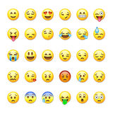 Set of emoticons, emoji  on. White background, vector illustration