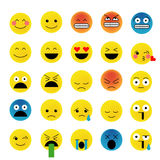 Set of emoticons. Emoji  on white background, vector illustration. Smiley faces collection Royalty Free Stock Photo