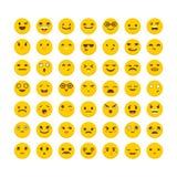 Set of emoticons. Funny cartoon faces. Avatars. Cute emoji icons. Flat design. Vector illustration Stock Photography