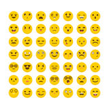 Set of emoticons. Funny cartoon faces. Cute emoji icons.  Royalty Free Stock Photography