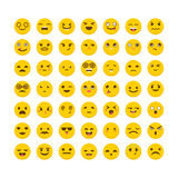 Set of emoticons. Funny cartoon faces. Cute emoji icons. Stock Photography