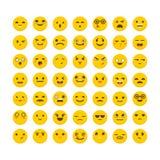 Set of emoticons. Funny cartoon faces. Cute emoji icons.. Flat design. Vector illustration Stock Photo