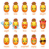 Set of emoticons funny pineapple. Royalty Free Stock Image